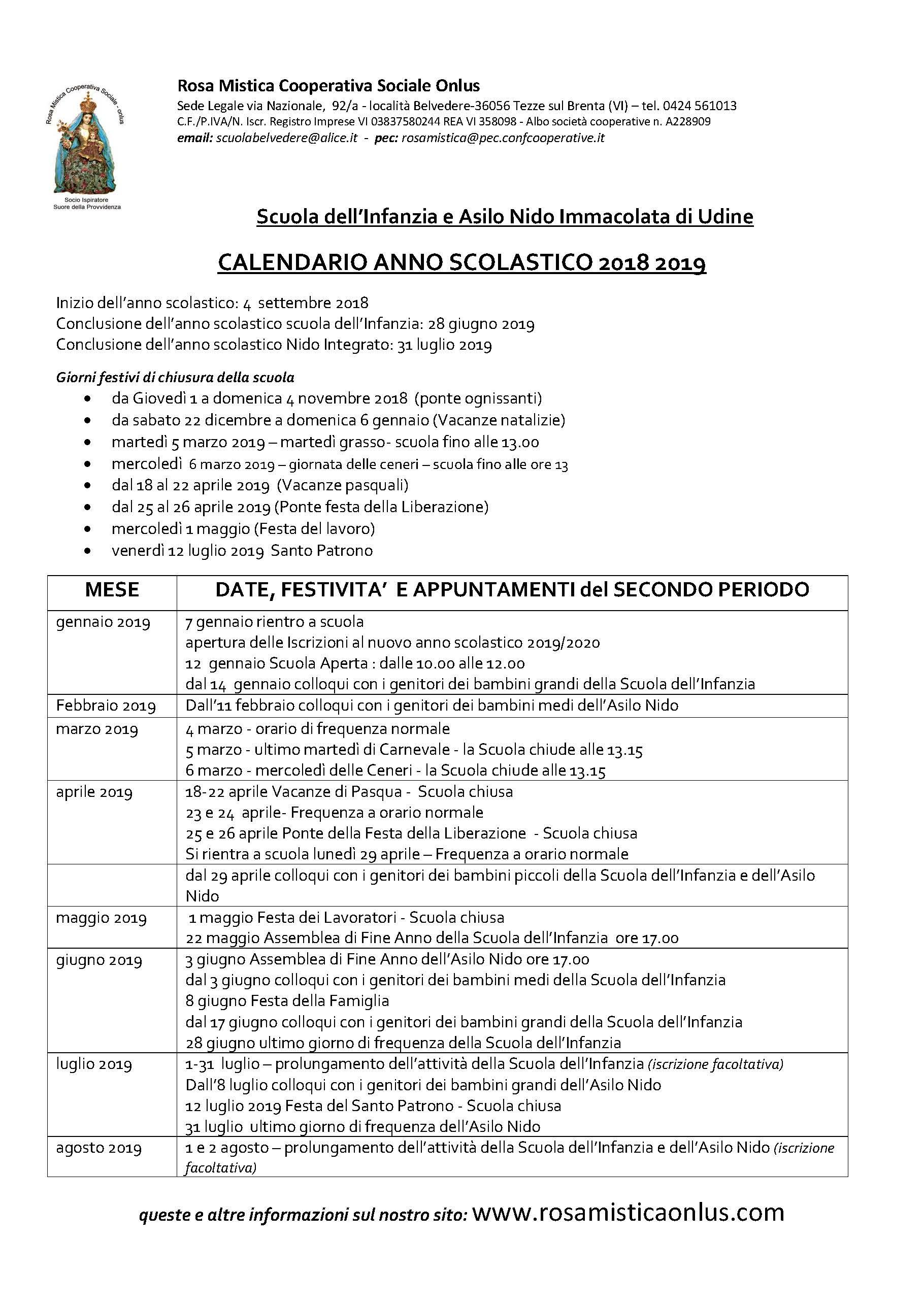 Calendario Giugno Luglio Agosto 2019.Udine Calendario Anno Scolastico 2018 2019 Seconda Parte